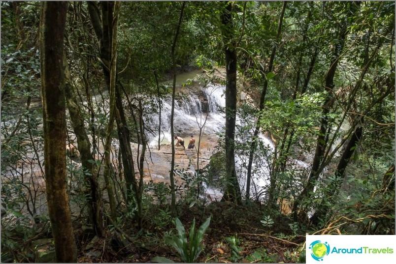 Polun pää, joten näet Khun Si-vesiputous puiden läpi