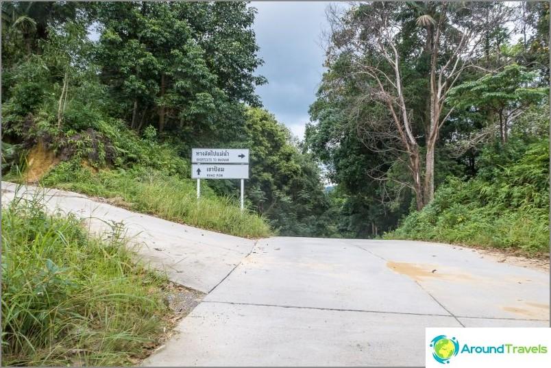Jos menet Chawengista tai Lamaiista Lamai-Menam shotkat -kadulla, niin heti näiden merkintöjen jälkeen laskeutuminen ja pohjavesiputous vesiputoukseen