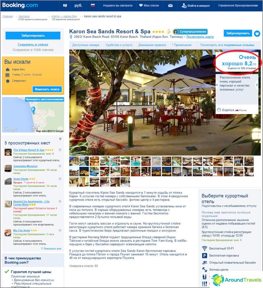 Hotelli sivulla booking.com
