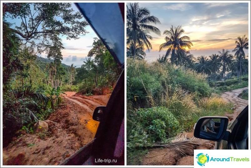 Autolla ajaminen auringonnousun aikana