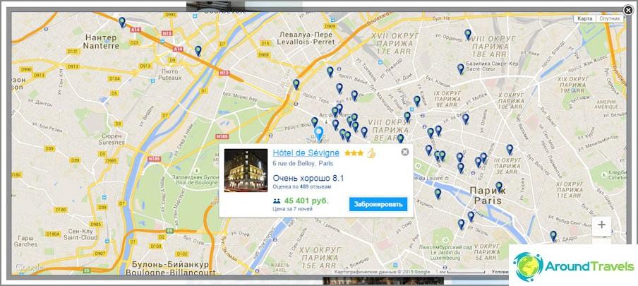 Интерактивна карта на града с хотели