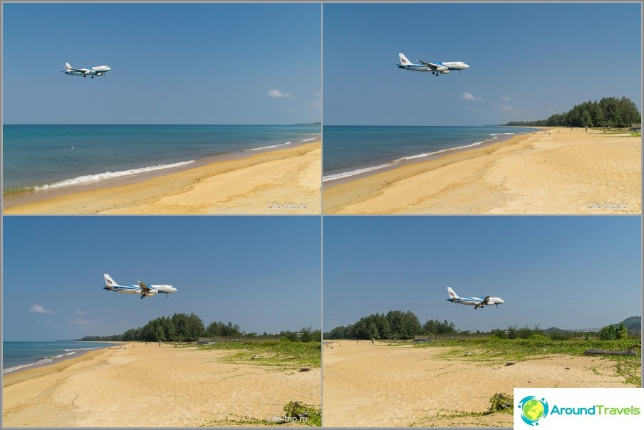 Phuketin ranta, jossa lentokoneet laskeutuvat