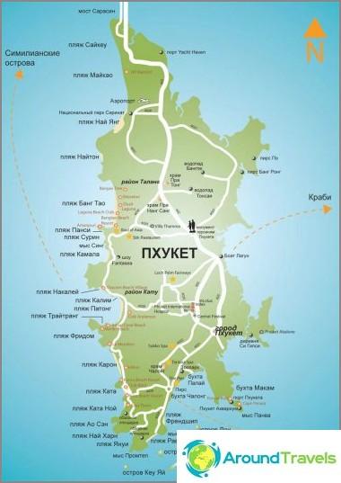 Kartta Phuketista ja venäjän rannoista