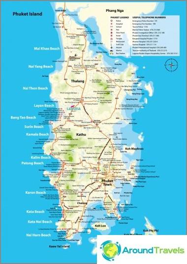 Phuket-kartta rannoilla