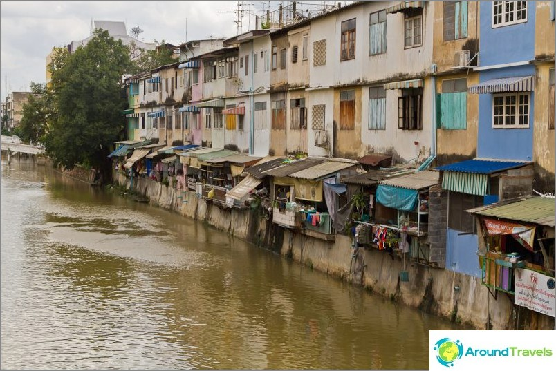 Talot seisovat aivan joen kanavalla