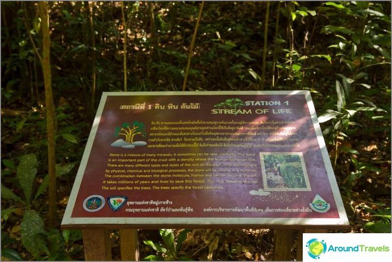 Matkan varrella on seisontatelineitä, joissa kuvataan paikallista luontoa.