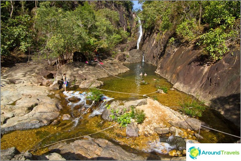 Näkymä Klong Plun vesiputoukselle ja sen kulhoon