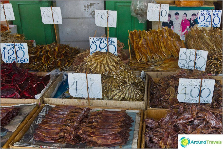 Voit ostaa kuivattuja makeita kaloja Tha Tien-laiturin lähellä
