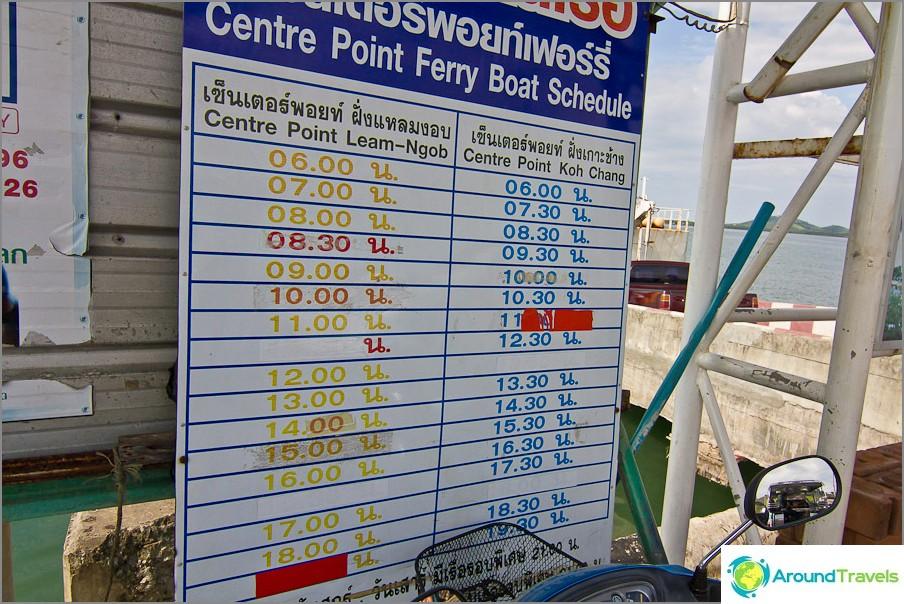 Lautta-aikataulut Koh Changiin keskipisteen laiturilta
