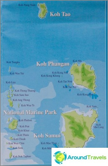Koh Samuin, Phanganin ja Taon sijainti Thaimaanlahdella
