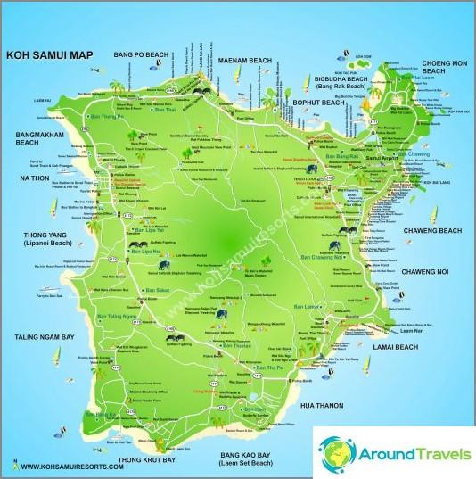 Toinen Samui-kartta hotelleista ja maamerkeistä.