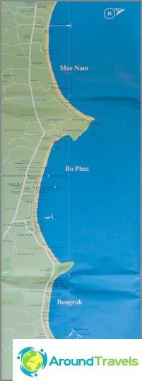 Kartta Bo Phutista ja Maenam Beachistä