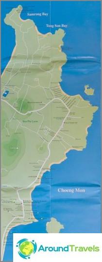 Kartta Chong Monista ja Tong Son Beachistä