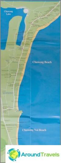 Kartta Chawengin rannasta ja Chaweng Noista
