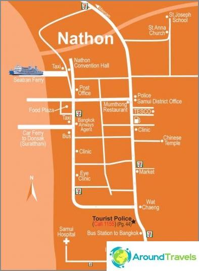 Kartta Nathon Townista Koh Samuilla
