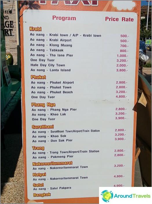Taksi Ao Nangista Krabiin, Phuketiin ja muihin paikkoihin