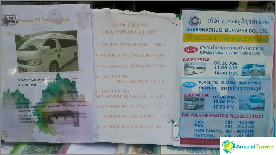 Aikataulu busseille ja minibusseille matkatoimistossa Koh Changilla