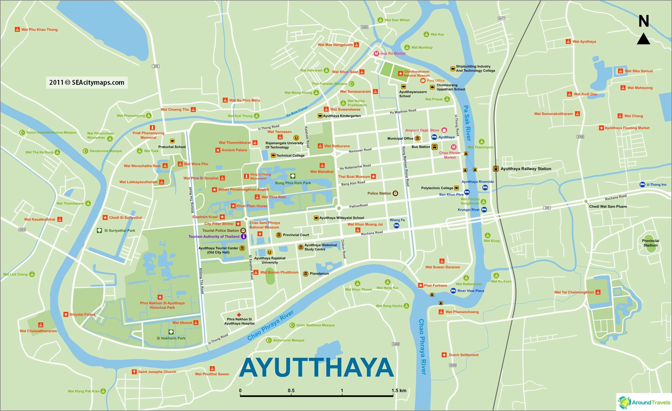 Ayutthaya-kartta kaikilla temppeleillä (suuri napsautus)