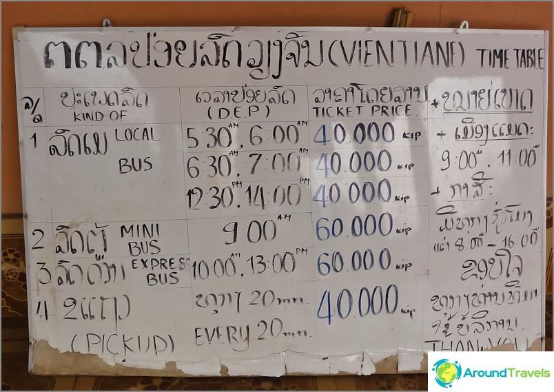 Bussiaikataulu Vang Vieng - Vientiane