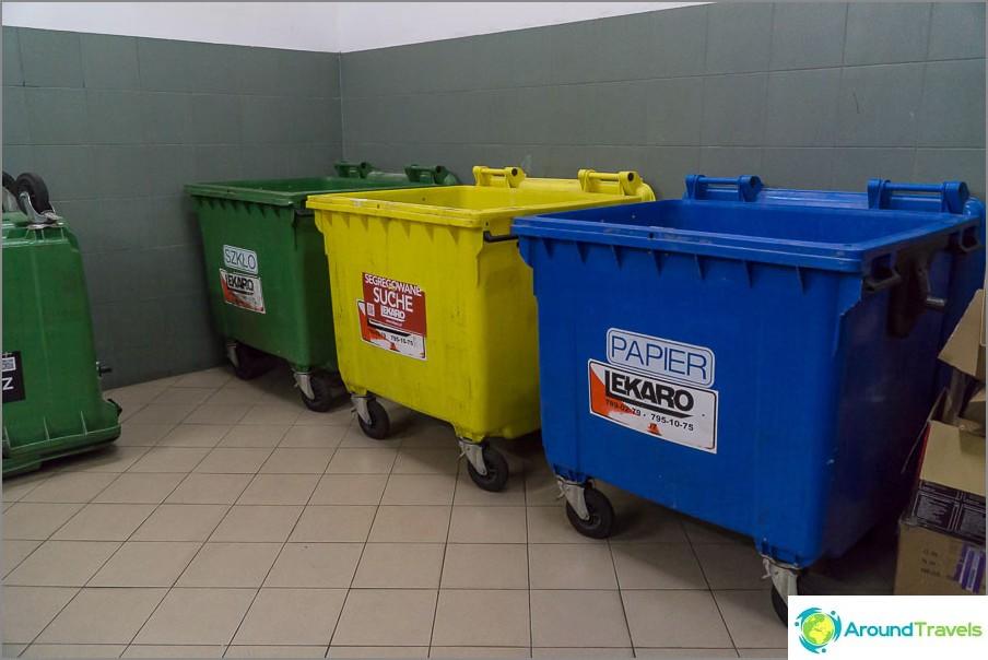 Erilliset roska-astiat, mutta heitetään useammin yleiseen