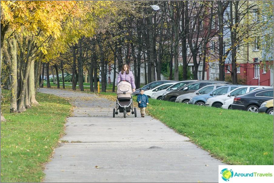 Много майки, които ходят с колички