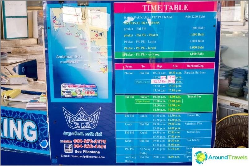 Lautta-aikataulut Phuket - Phi Phi