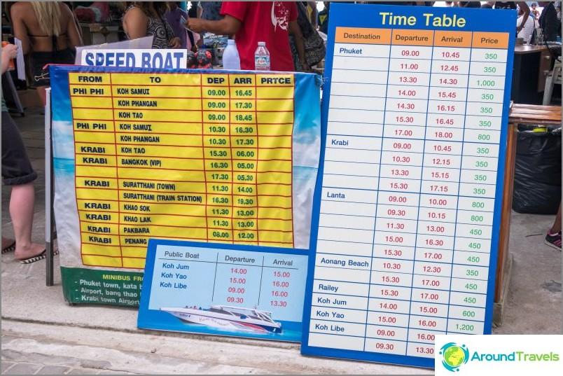 Lautta-aikataulut ja hinnat Phi Phi