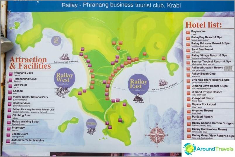 Карта на полуостров Райлай и плажове