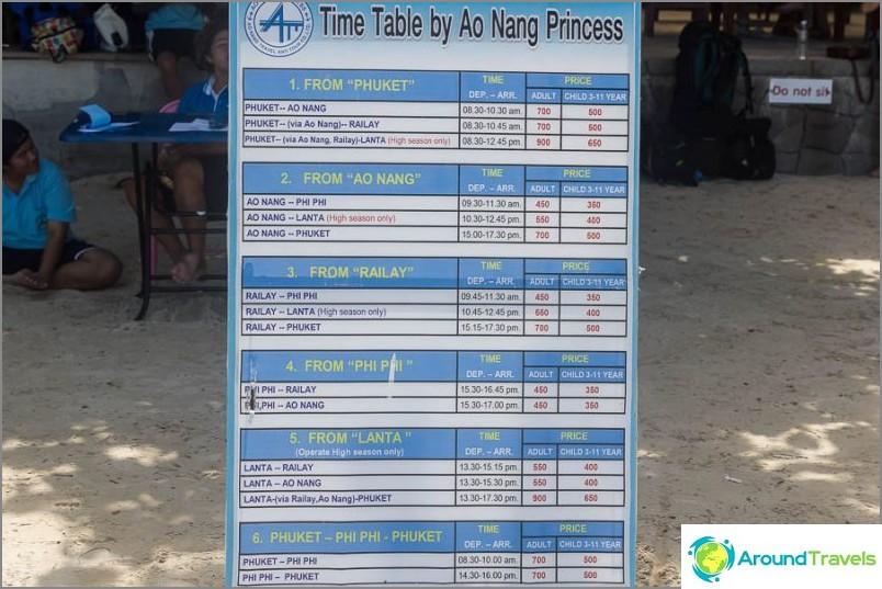 Разписание на лодката Railay Krabi Phuket