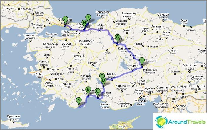 Reitti Turkissa. Antalya-Cappadocia-Istanbul.