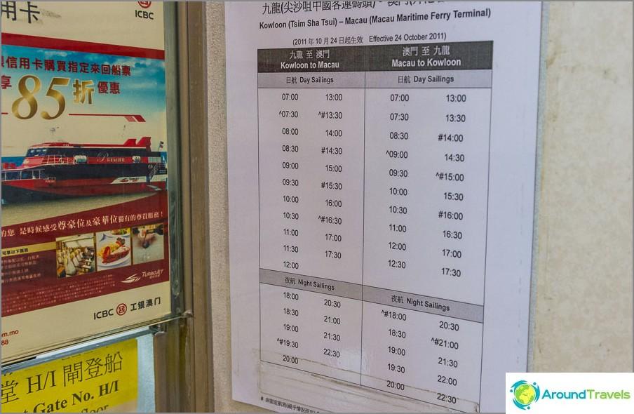 Lautta-aikataulut Hong Kong Macaoon