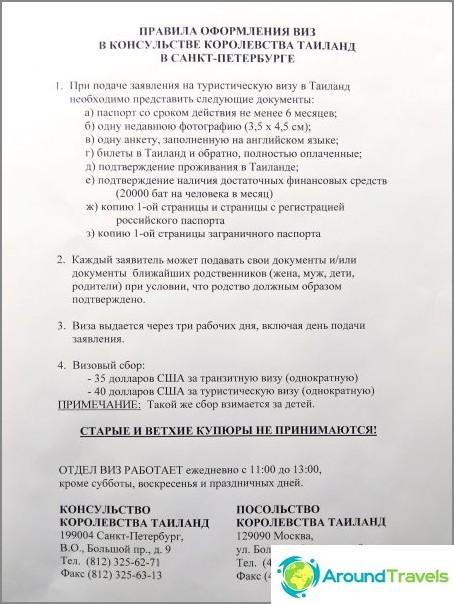 Luettelo Thaimaan viisumiasiakirjoista Pietarissa