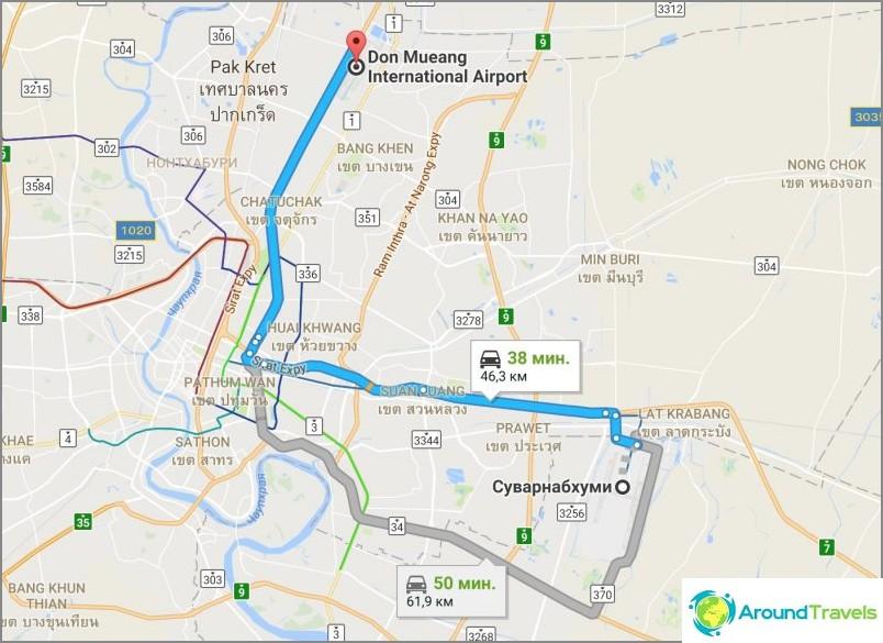Kuinka päästä Bangkokin lentokenttien välillä