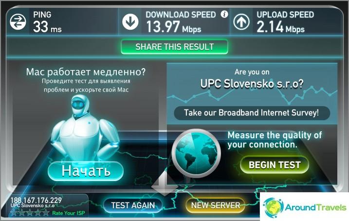 سرعة واي فاي في الشقة