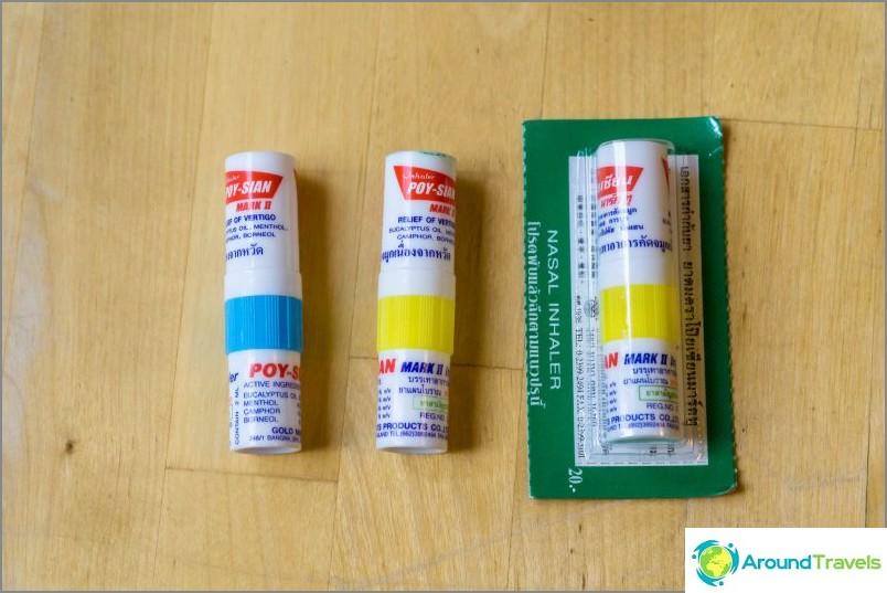 Thailändska menthol- och kamferinhalatorer