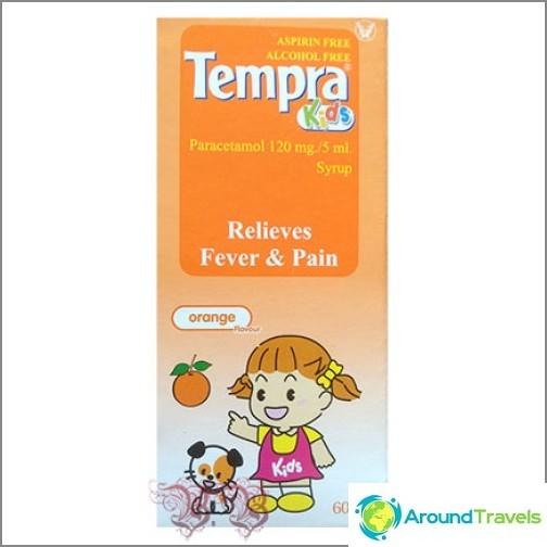 Låghämmande medel för barn med paracetamol i form av sirap