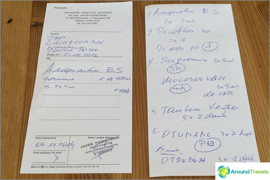 Списък с рецепта и лекарства