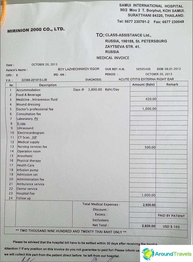 Sairaalan lasku maksetaan vakuutuksella